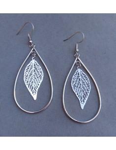 Boucles d'oreilles créoles ovales motif feuilles filigranes 5 cm