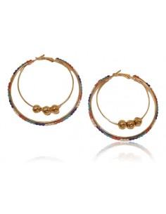 Lot de 12 paires de boucles d'oreilles créoles avec perles