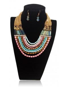 Parure multirangs fantaisie perles collier & boucles d'oreilles