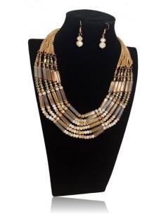 Collier multirangs perles allongées cristal de verre