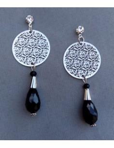 Boucles d'oreilles créoles vintage avec perles noires 5 cm