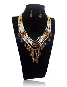 Parure cristal multirangs avec pampilles collier & boucles