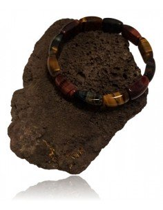 Bracelet oeil de boeuf/tigre/faucon semi rigide perles ovales