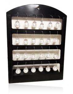 12 paires de B.O pendantes boules nacrée serties sur présentoir