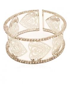 Bracelet manchette motif coeur filigrane serti