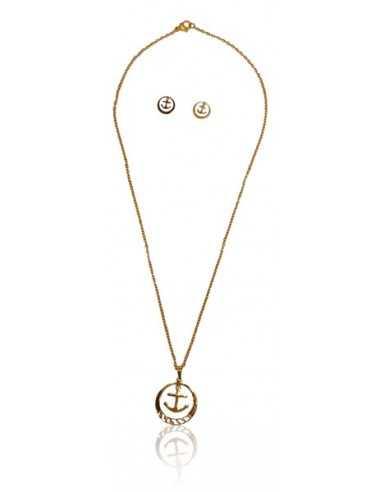 Parure acier collier pendentif ancre marine et boucles d'oreilles