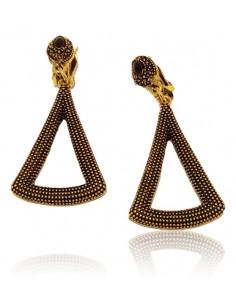Boucles d'oreilles Clips métal vieilli motif triangle texturé