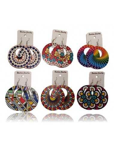 12 paires de boucles d'oreilles bois créoles fleurs hippies