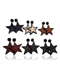 12 paires de boucles d'oreilles étoiles tissées au raphia