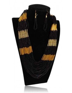 Collier parure perles multirangs coloris dégradés