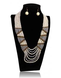 Collier parure perles tissées multirangs à motifs graphiques