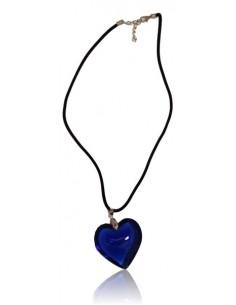 Collier cordon velours pendentif gros coeur verre