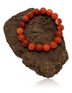 Bracelet pierre agate marron boules 10 mm