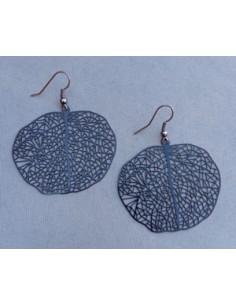 Boucles d'oreilles feuilles rondes motifs filigrane 4 cm