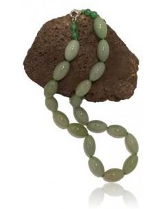 Collier pierre aventurine perles tambour