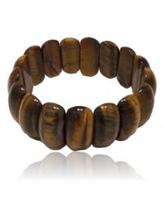 Bracelet oeil de tigre manchette large pierres ovales