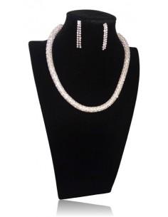 Parure bijoux collier tube métal serti de strass