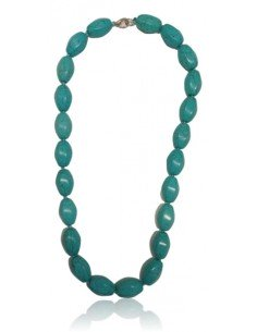 Collier turquoise reconstituée perles torsadées