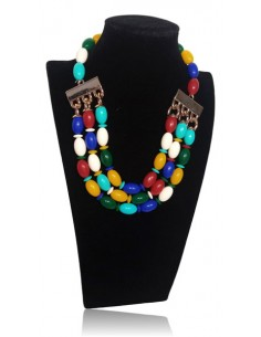 Parure bijou collier multirangs perles ovales fantaisie
