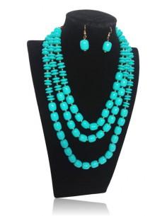Parure bijoux collier multirangs fantaisie et B.O