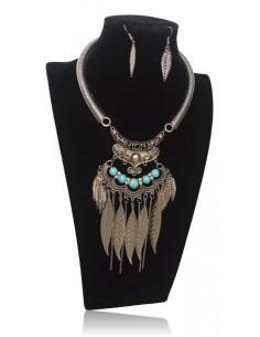 Collier plastron turquoises style ethnique et boucles d'oreilles