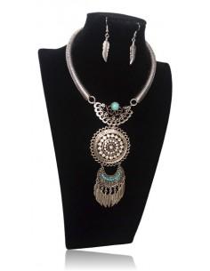 Parure collier plastron médaillon pierres turquoises serti et B.O