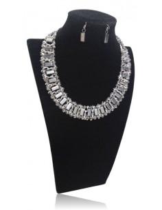 Parure collier multirangs perles cristal & boucles d'oreilles