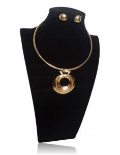 Parure collier ras du cou pendentif anneau XXL
