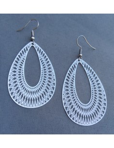 Créoles ovales motifs géométriques 5 cm