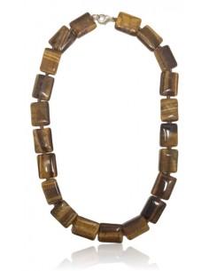 Collier oeil de tigre pierre naturelle rectangles