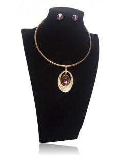 Parure collier ras de cou pendentif médaillon ovale cristal serti & B.O