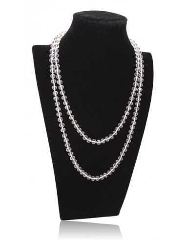 Sautoir perles cristal facettées 8 mm