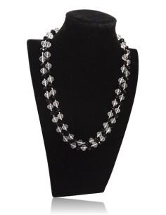Sautoir perles de cristal facettées 10 mm