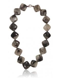 Collier quartz à inclusion de tourmaline perles géométriques
