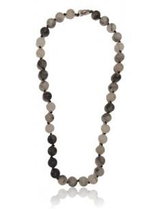 Collier quartz à inclusion de tourmaline pierres boules 10 mm