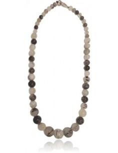 Collier quartz à inclusion de tourmaline pierres boules dégradées