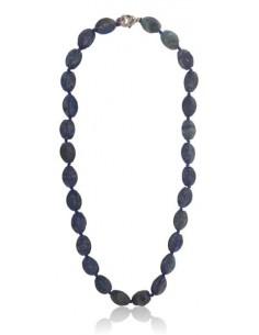Collier lapis-lazuli pierres concaves