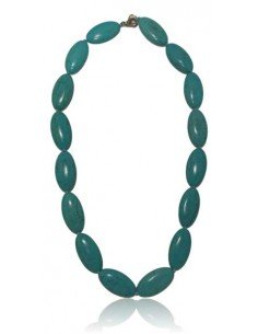 Collier turquoise reconstituée perles ovales