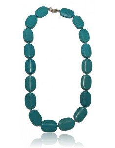 Collier turquoise reconstituée perles ovales larges