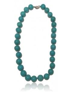 Collier turquoise pierre reconstituées perles rondes