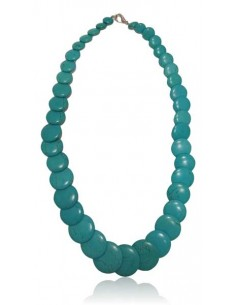 Collier turquoise reconstituée perles rondes plates dégradées