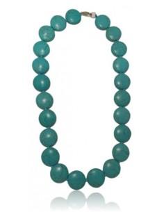 Collier turquoise reconstituée perles rondes plates