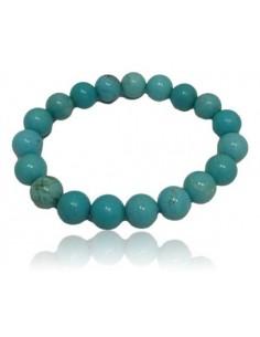 Bracelet turquoise véritable pierres boules 10 mm