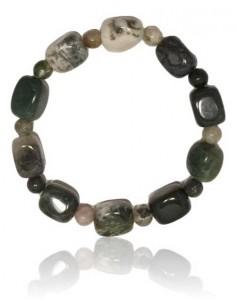 Bracelet agate indienne pierres cubiques et boules