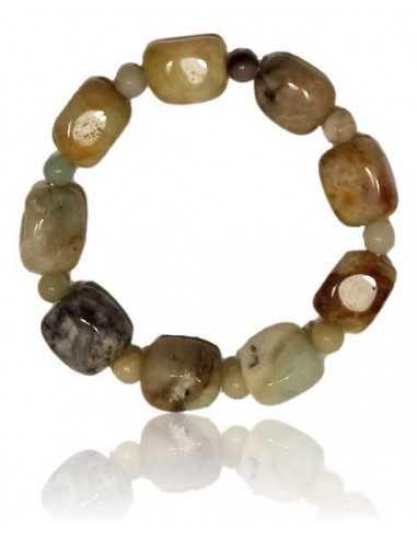 Bracelet amazonite givrée pierres cubiques & boules