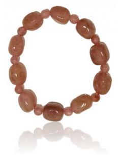 Bracelet quartz rose lavande pierres cubiques & boules