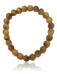 Bracelet pierre oeil de tigre clair pierres boules 8 mm