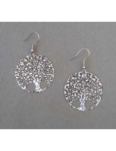 Boucles d'oreilles arbre type créoles filigranes 3 cm