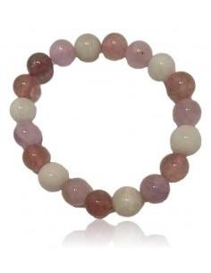 Bracelet pierres boules améthyste/ aigue marine/ quartz rose lavande