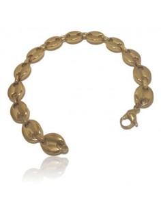 Bracelet maille grain de café acier inoxydable doré